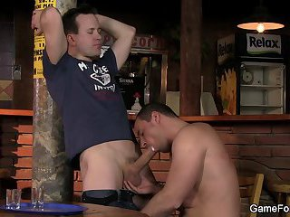 Hetero bartender rides his first gay cock