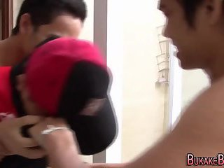Asian twink jizz sprayed