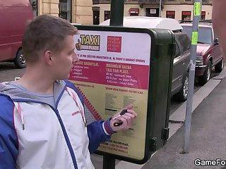 Gay seduces hetero taxi driver to cock riding