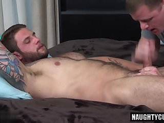 Tattoo boy oral and cumshot