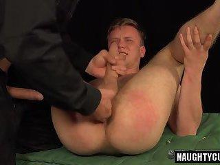 Tattoo gays spanking with cumshot