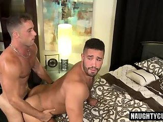 Brunette gay anal sex with facial