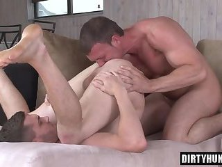 Muscle gay anal sex and cum swallow