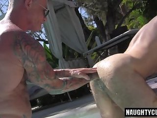 Tattoo wolf double fisting and cumshot