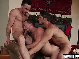 Hot gay threesome and facial