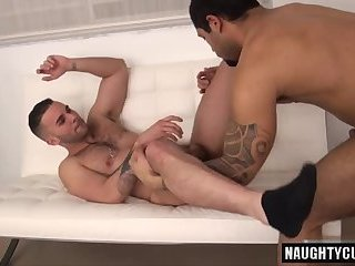 Brunette gay anal sex and facial