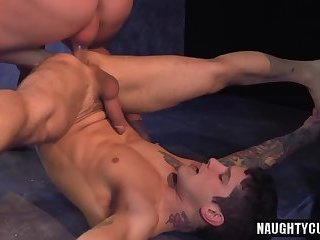 Tattoo jock flip flop and cumshot