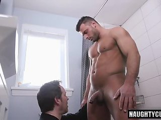 Big dick gay blowjob with facial