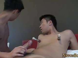 Gay asian gives handjob