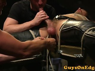 Hunky stud edged until allowed to cum