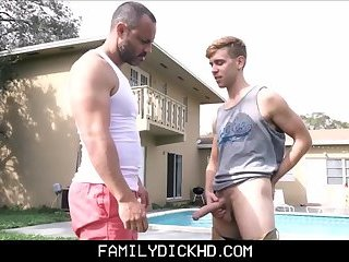 Bear Stepdad And Twink Son Fuck Outside After Yard Work