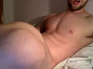 Muscle stud plays with his cock for his boyfriend